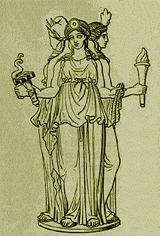 Hecate as triple goddess. Public Domain, https://commons.wikimedia.org/w/index.php?curid=604834