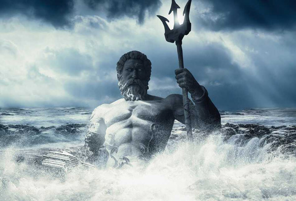 Image of Poseidon rising from the sea