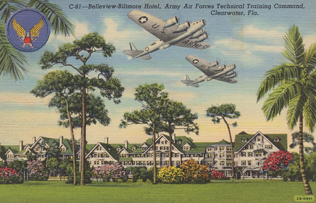 Postcard from WWII illustrating the resort as a training center.